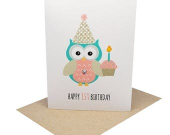 1st Birthday Card Girl - 1st Birthday Girl Party Owl with Cupcake - HBC199 / Happy 1st Birthday First