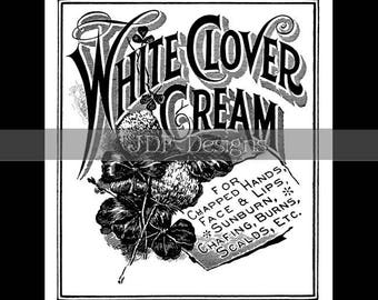 Instant Digital Download, Antique Victorian Graphic, White Clover Cream Health Apothecary Ad Advertisement, Label Print Image, Typography
