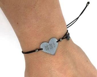 Coordinates bracelet. Silver Heart Bracelet. Laser engraved jewelry. Personalized bracelet. Memory gift bracelet. Handwritten bracelet