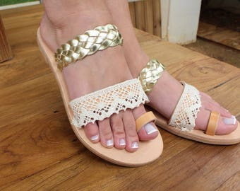 Wedding shoes. Bridal leather sandals. Gold and lace summer shoes