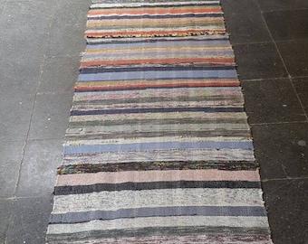 Vintage Oushak Runner / 18 by 3 / Kilim Rug / Distressed / Nomadic / Boho / Stripe/ Rustic / Runner Rug - 215 in x 31 in