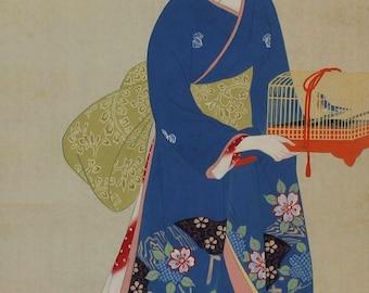 Japanese Hanging Scroll Fine Art Painting Bijin, a Beautiful Woman in kimono admiring a bird in cage Kakejiku – 1702048