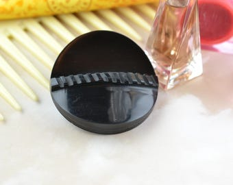 Vintage Button - Black Circular Upcycled Button Brooch - Unique - Repurposed - Sustainable - Eco Friendly Jewellery