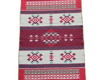 Reversible Kilim Rug - Small Turkish Kilim Rug or Mat in Maroon, Green and Red - 127cm x 77cm