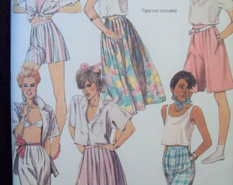 "Misses Skirt, Culottes and Pants 1980s McCall's Pattern 9525 Cut Size 16 Waist 30"" Hip 40"""
