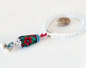 Michou Pascale Anderson *Fleur Rouge*  Necklace - Lampwork  Pendant - Sterling Silver, Toho glass seeds