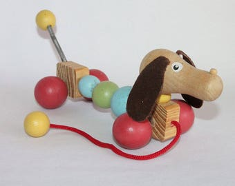 Vintage Wooden Pull Along Toy Dachshund Dog 1980s Wood Toy