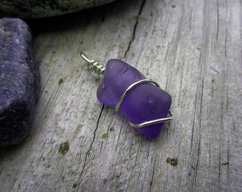 Purple Beach Glass Pendant - Sterling Silver Wrapped