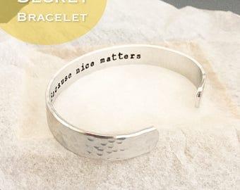 secret message, Personalized metal cuff bracelet, custom bracelet, aluminum cuff hand stamped bracelet, hammered texture