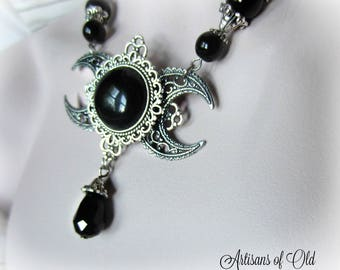 Gothic Triple Moon Goddess Necklace, Wiccan Necklace, Black Onyx Necklace,