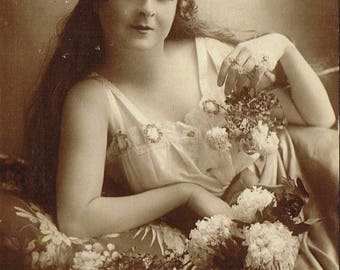 Antique Edwardian, 1900s, sepia Miss Flora Le Breton photo postcard , black and white vintage, beautiful lady