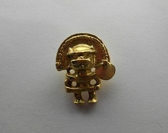 Vintage Aztec pendant figurine in gold wash metal Southwestern