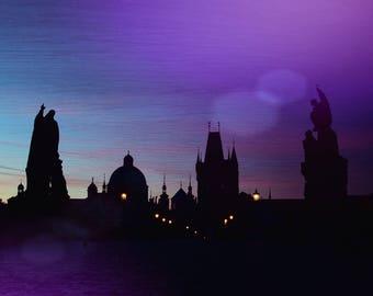Prague St. Charles Bridge Sunrise Silhouette  Fantasy Colors Art Print in Blue and Purple Karluv Most Praha