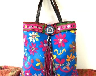 ethnic bag, tribal bag, indian bag, ethnic shopper, blue shopper, banjara bag, banjara purse, boho bag, boho bags for women