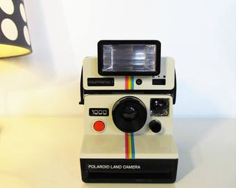 Vintage Polaroid Camera, Polaroid Land Camera 1000, Camera SX70 with Flash Polatronic 1 Retro Camera 70s