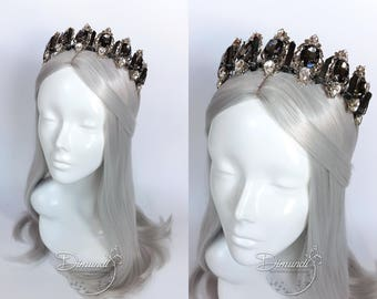 Dark Grey Quartz Crystal Crown