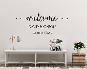 Custom Welcome Sign Decal | Names & Date of Establishment