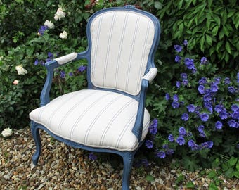 Louis/French Style Arm Chair - Designer Fabric, Painted in Farrow & Ball's Stiffkey Blue