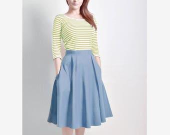 Steel Blue Skirt, Midi skirt, Flared Skirt, Cotton Sateen skirt with Pockets