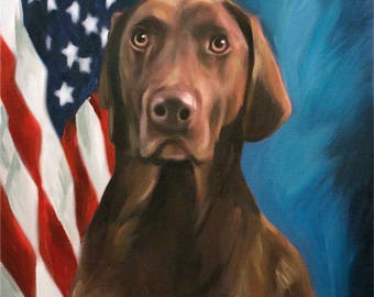 Patriotic Portrait with US Flag Background - Custom Pet Portrait from Photo Reserved for Daniel 16x20