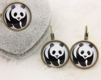 Earrings and ring panda 1616