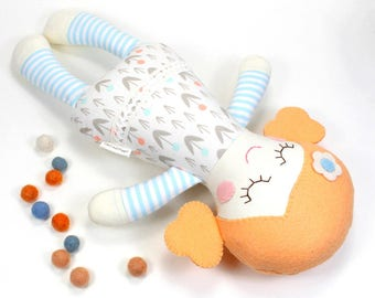 rosie baby doll | sweet baby doll  | organic toy  | baby shower gift  |  peach and light blue baby doll  | first birthday  gift
