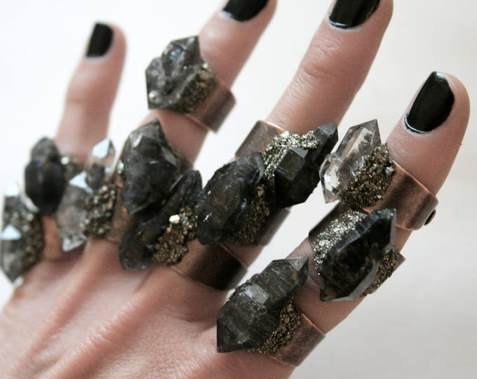 Tibetan Smoky Quartz Scepter Crystal Ring - Choose Your Style