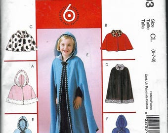 "2004 McCall's 4703 Children's & Girls Lined Capelets and Capes Sewing Pattern Size CL 6-7-8 Breast 25""-26""-27"" UNCUT"