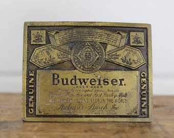 Vintage Brass Budweiser Belt Buckle, Made by Indiana Metal Craft, Aged, Official, Budweiser Collectible, Beer, Lager, Genuine Anheuser Busch