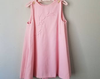 Vintage 60s Girls Pink Sleeveless Dress with Embroidered Flowers by Gay Sprites- Size 4- Gently Worn- Easter Dress