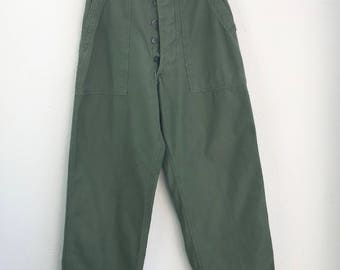 Vintage Early 1960's Military Vietnam Cotton Utility Pants size 28 x 32 Button Fly