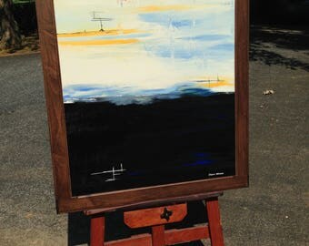 """ORiGiNAL Landscape ABSTRACT 36"""" x 45"""" original Acrylic Painting """"INTO THE NiGHT""""  - with vintage wood frame   36"""" X 45"""" - (17-2970)"""