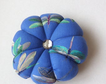Pincushion DRAGONFLY with silver accents. Great for a sewing gift - Round Pin cushion Double Sided dragonflies. Blue with gold accents