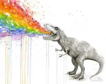 T-Rex Rainbow Puke Art Print T-Rex Vomit Funny Colorful Whimsical Animal Print, Dinosaur Art, Taste the Rainbow Giclee Wall Decor