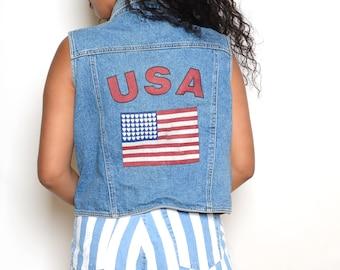 Vintage 90's USA Cropped Jean Vest Sz M