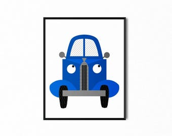 Little Blue Truck Printable, Original Illustration, Art for Kids, Baby Nursery Room Art, Wall Decor, Digital Print