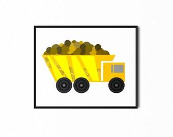 Dump Truck Printable, Heavy Equipment, Original Illustration, Art for Kids, Baby Nursery Room Decor, Children's Print, Wall Art