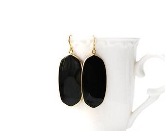Polished Gold Plated Oval Black Onyx Earrings