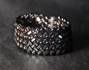 Herringbone Hematite beads Bracelet,  Handmade, Beaded,Handwoven Cuff, Gunmetal tone stones