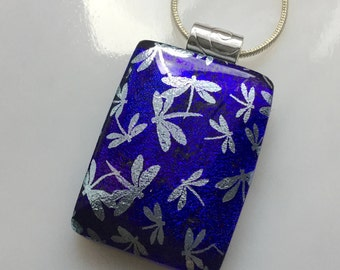 Dichroic Silver Dragonfly Pendant, Fused Glass Jewelry, Indigo Purple Dragonfly Necklace