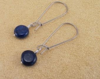 Earrings, lapis lazuli coins, surgical steel kidney earring finding, blue earrings, gemstone earrings, simple, everyday, jewelry, dark blue