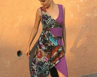Boho Dress, Wrap Dresses, Purple And Print Dress, Boho Child, Bohemian Style, Long Romantic Dress, Hippie Dresses, Colorful Handmade Dress