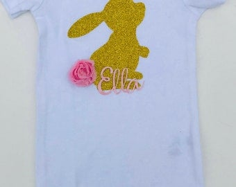 Easter Outfit - Baby Girl's Easter Bunny Outfit - Gold Glitter Vinyl Bunny