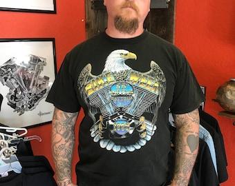 Vintage Bike Week Harley Davidson Engine Daytona Beach Eagle shirt XL