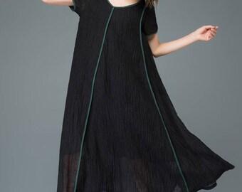 Maxi dress, linen dress, womens dresses, black dress, Plus Size Dress, loose dress, summer dress, causal dress, dress C925