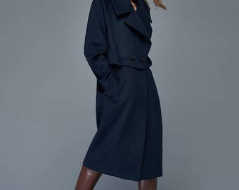 Navy coat,  blue overcoat, wool coat, womens coats, winter coat, classic coat, loose coat, jacket, midi coat, outwear, wool jacket C963
