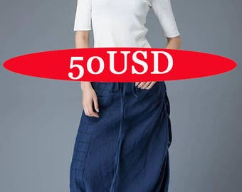 Sale, On sale, Linen pants women, loose pants, womens trousers, blue pants, maxi pants, wide leg pants, c829-1