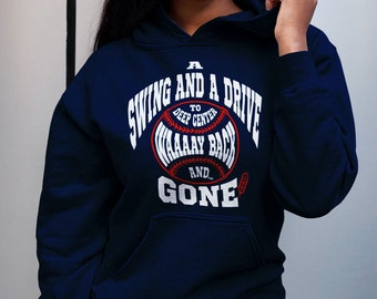 Cleveland Indians Hoodie Sweatshirt, Baseball, Tom Hamilton, Tribe, A Swing and a Drive, Home run, Gifts for him, Gifts for her