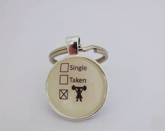 Single taken keyring, single girl,funny keychain,weightlifting charm,gym bag tag,crossfit gift,barbell key fob,gift for her