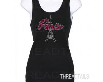 Paris Top. Black Tank Top.  Paris Eiffel Tower sleeveless tee.  Rhinestone bling and glitter summer shirt. Ladies gift idea.